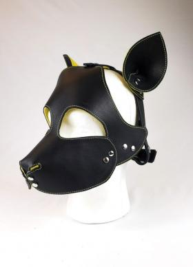 Yellow Leather Lined Black Leather Pup Hood with Yellow Stitching